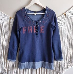 Free People Blue Distressed Embroidered Sweater S